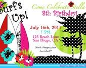 Surfer Girl Invitation Printable Birthday party Invite by Luv Bug Design