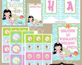 Mermaid Birthday Party Collection printable party by Luv Bug Design