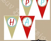 INSTANT DOWNLOAD Surfer Boy Happy Birthday Party Banner printables by Luv Bug Design