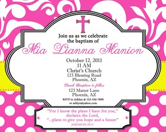 PRINTABLE Pink and Yellow Baptism/Blessing Invitation- printable party invitation by Luv Bug Design