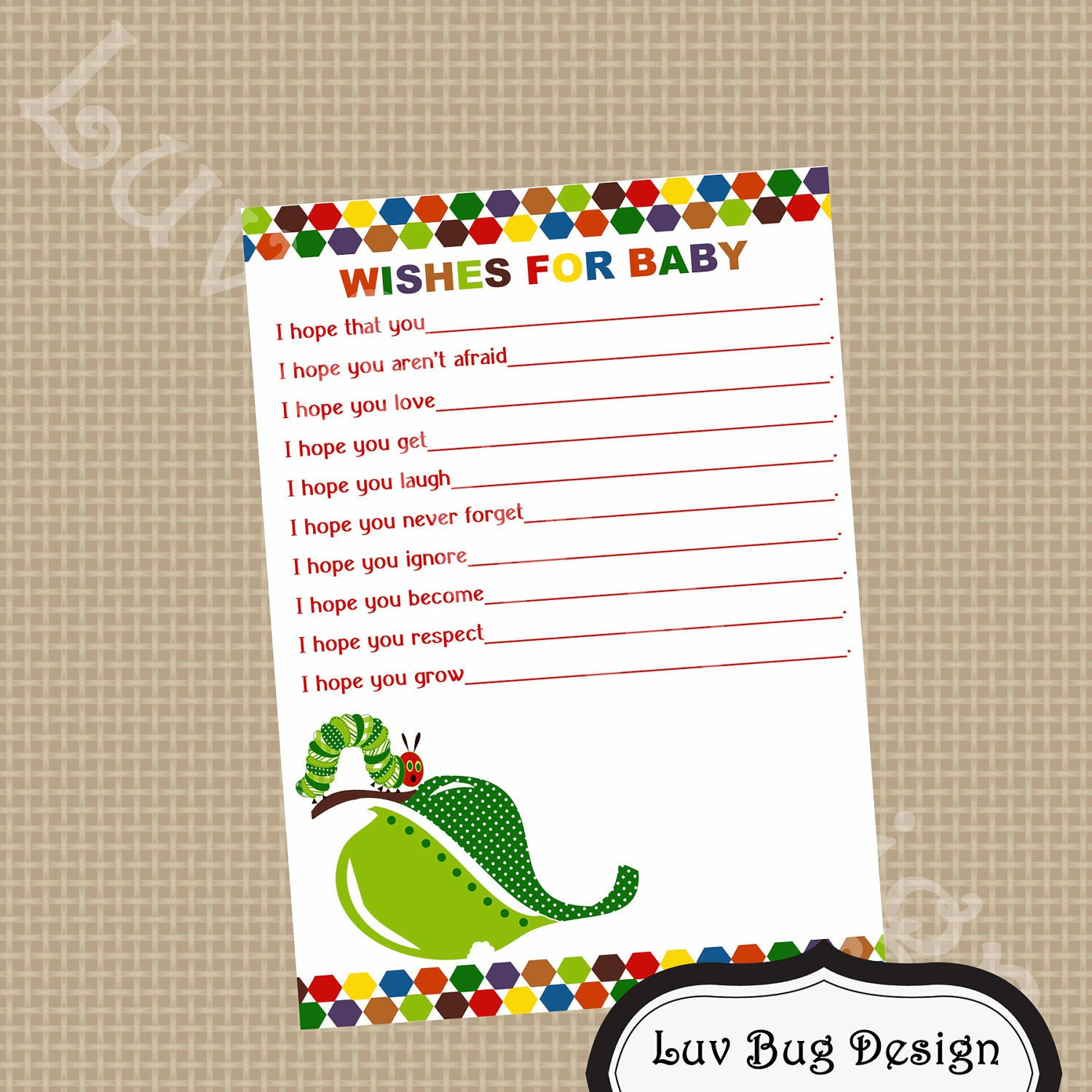 PRINTABLE Caterpillar Wishes For Baby Baby Shower By