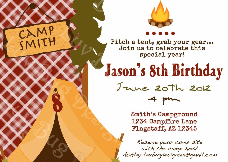 Camping Invitation Printable Birthday party invite by luvbugdesign