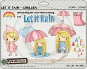 Let it Rain April Showers chibi girl adorable clipart images for cardmaking and scrapbooking