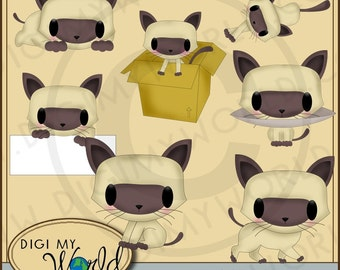 Kawaii Cute Siamese kitty cat kitten set A clipart images for scrapbooking and card making