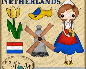 Netherlands tween girl, Dutch, windmill, clog shoe, tulip clipart graphics