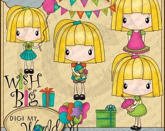 Birthday Party chibi Megan girl Happy Birthday banner, presents, balloons, Wish Big clipart and graphics