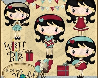 Birthday Party chibi Stacey girl Happy Birthday banner, presents, balloons, Wish Big clipart and graphics