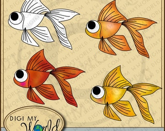 Adorable Big eyed goldfish gold fish three colored fishes and one digital stamp set for cardmaking scrapbooking and general crafting