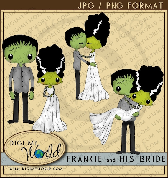 Halloween Frankenstein and his Bride clipart images