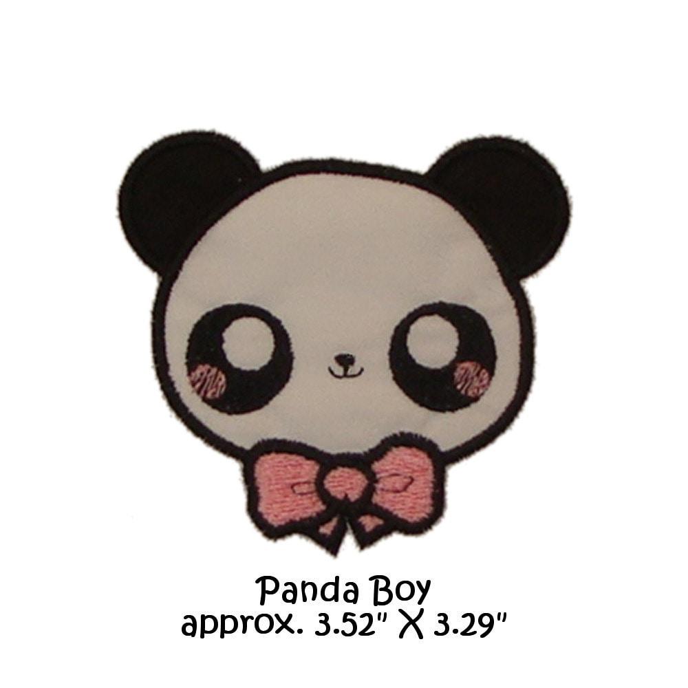 Applique machine embroidery kawaii panda boy version for Foto di disegni kawaii