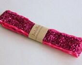 Pink Headband, Glitter Headband, Adjustable Non-Slip Velvet Backing