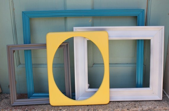 Set of 4 Ornate Vintage Frames- Gray, White, Yellow, Turquoise