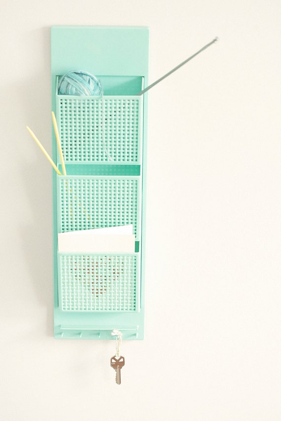 Melissa -Gorgeous vintage turquoise wall organizer