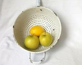 French enamel colander - vintage, shabby chic, enamelware in blue and white