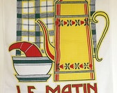French tea towel, or torchon, in cotton, featuring cafe au lait and a croissant
