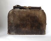 Antique French leather handbag