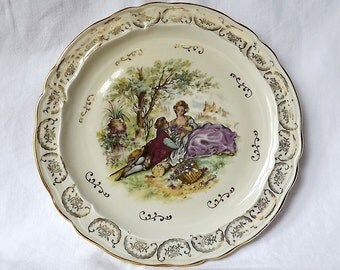 French vintage plate, Limoges, with Fragonard decoration