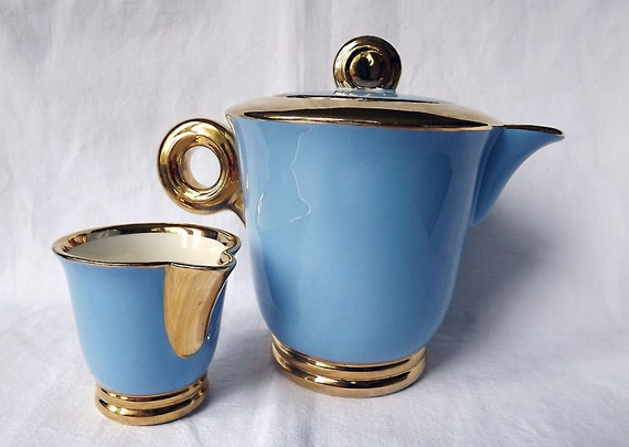 Art Deco coffee pot or teapot and creamer, Sarreguemines, from France