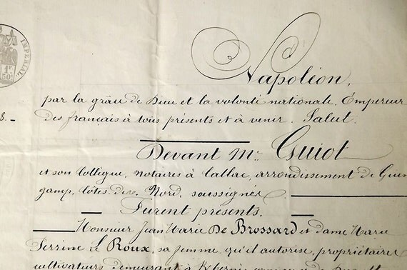 French antique legal document from 1866, hand written manuscript