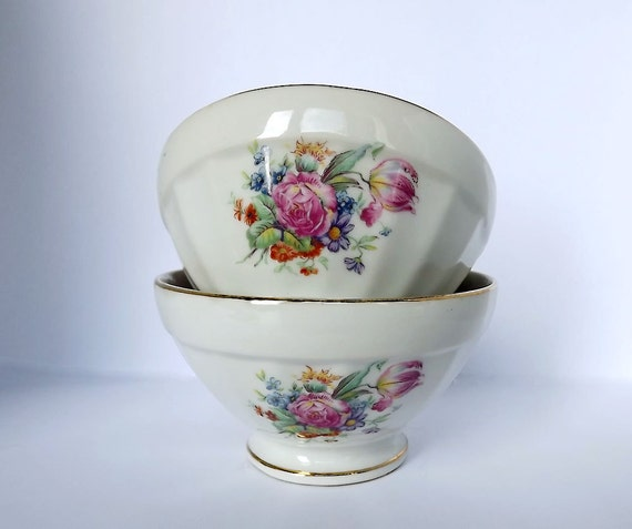 RESERVED for Marie - Cafe au lait bowls, set of two in porcelain from France