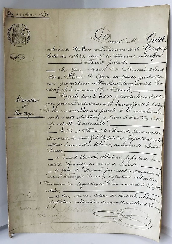 French antique legal document from 1890, hand written manuscript