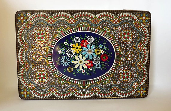 RESERVED for Ikumi - Mosaic decorated tin - oblong and hinged