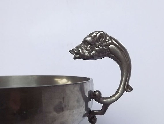 French pewter footed bowl with boars head handles