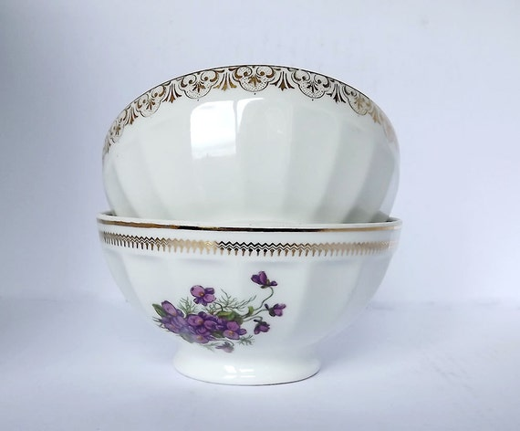 RESERVED for Ikumi - Two cafe au lait bowls, in porcelain from France, one decorated with violets