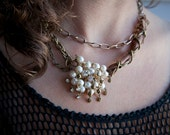 Pearl Pin and Leather Necklace