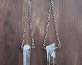Silver Chain and Quartz Earrings