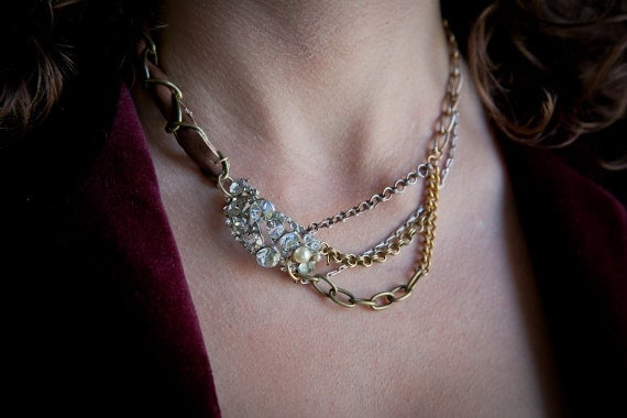 SALE: Vintage pin necklace featuring multi-colored chains and leatherwork