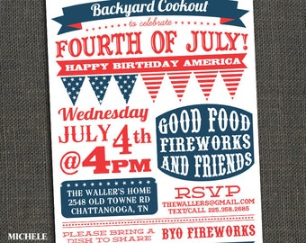 Fourth of July Party Invitation - BBQ - Clam Bake - Block Party - Fireworks - Printable or Printed for you
