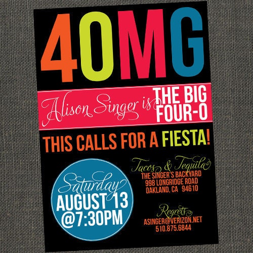 3OMG / 4OMG Birthday Invitation