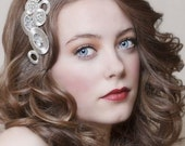 1920s Art Deco bridal headpiece in silver and crystal