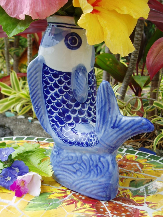 Asian koi fish vase blue white vintage for Koi fish vase