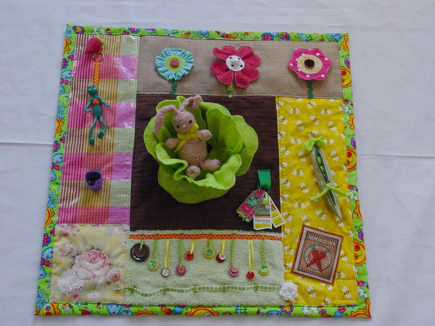 Green Thumb Gardener Fidget Quilt Tactile Bright