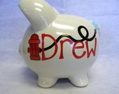 Personalized Piggy Bank Firefighter