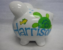 Personalized Piggy Bank Turtles