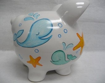 Personalized Piggy Bank Whales and Starfish