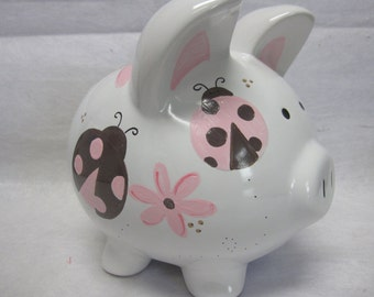 Personalized Piggy Bank Sweet Pink Ladybug and Dragonfly