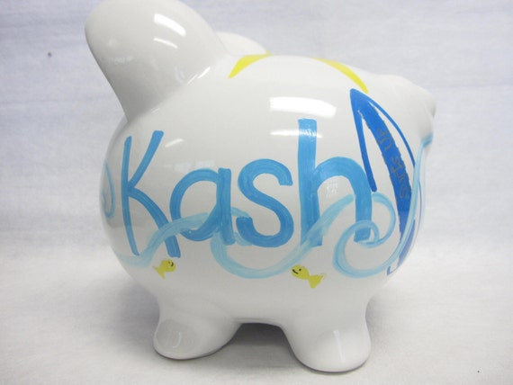 Personalized Piggy Bank Surfer Theme
