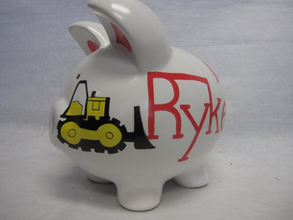 Personalized Piggy Bank Tonka Truck