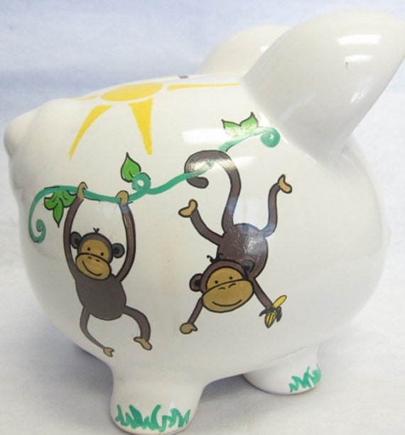 Personalized Piggy Bank Swinging Monkey
