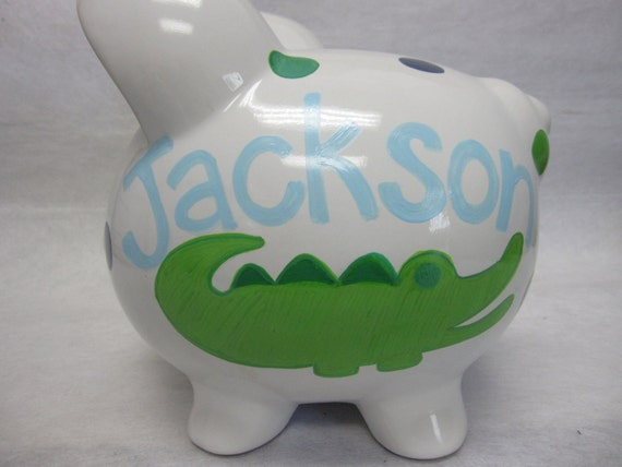 Personalized Piggy Bank Bananafish Nantucket Alligator