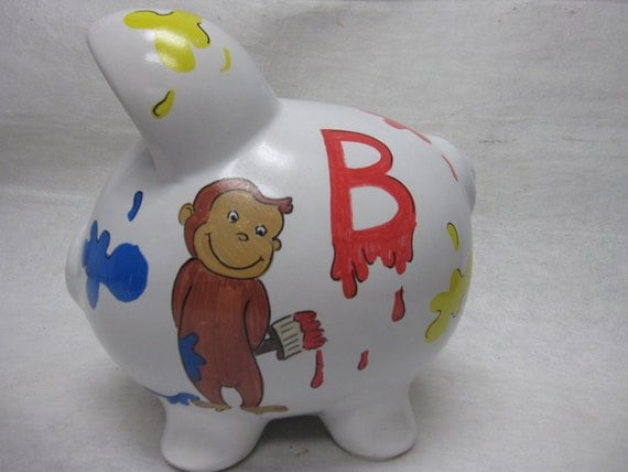Personalized Piggy Bank Curious George