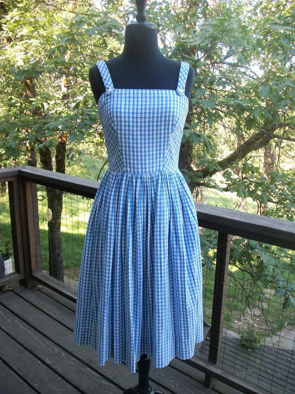 Lanz Blue Amp White Gingham Checkered Sun Dress Xs By Socalhoney