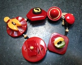 Statement Bracelet of vintage Bakelite buttons upcycled recycled