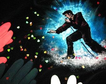 wearable art jacket black velvet Elvis