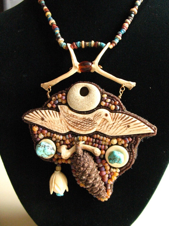 Wearable art necklace Inupiat carved seabird and turquoise with turtle bones and mummy beads, wearable art