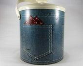 Vintage 1980's Ice Bucket With Denim Back Pocket And Red Bandana Print